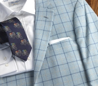 Jacket Wool and Silk Sky Blue Windowpane