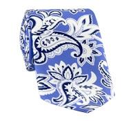 Silk Printed Paisley Tie in Cobalt