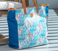 Canvas Reef Print Tote in Azure