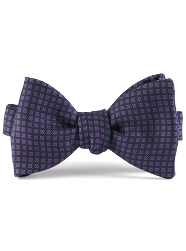 Silk Print Bow with a Square Motif in Navy