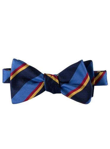 Silk Stripe Bow Tie in Cobalt