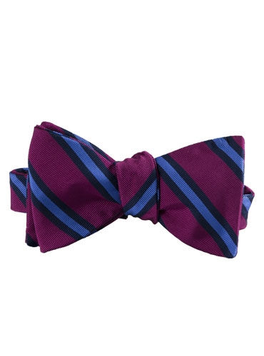 Mogador Silk Stripe Bow Tie in Magenta and Cornflower