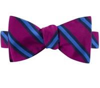 Mogador Silk Stripe Bow Tie in Magenta and Cornflower