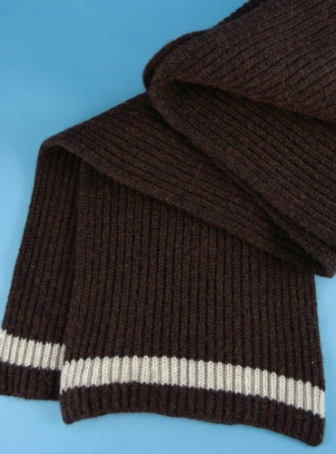 Cashmere Ribbed Scarf in Chocolate with Natural
