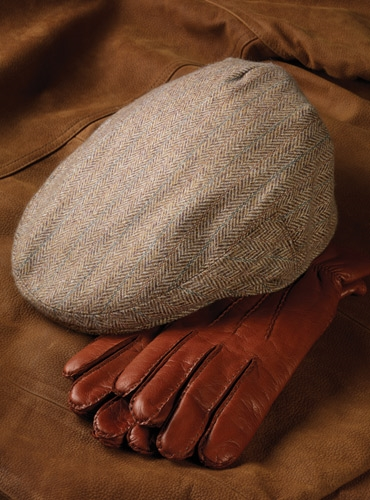 Cashmere Garforth Motoring Cap in Tan and Cream Herringbone