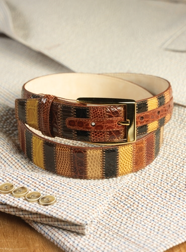 Exotic Patchwork Belt with Vertical Strips