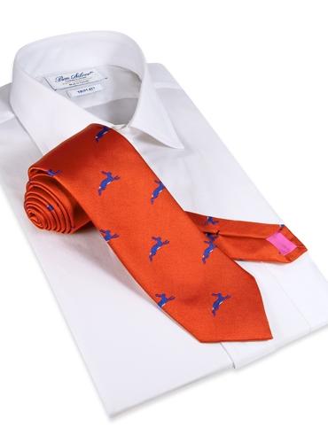 Jacquard Woven Hare Motif Tie in Tangerine