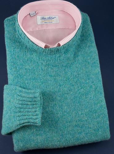 Shetland Crew Neck Sweater in Teal