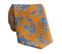 Silk Print Paisley Tie in Ochre