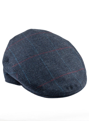 Wool Garforth Cap in Navy with Blue and Red Windowpanes