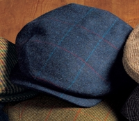 Wool Aberford Cap in Navy with Blue and Red Windowpanes
