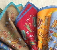 Beach Scene Cotton Pocket Square