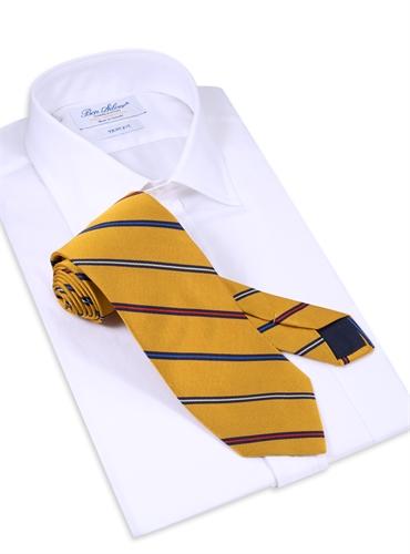 Silk Woven Multi-Stripe Tie in Marigold