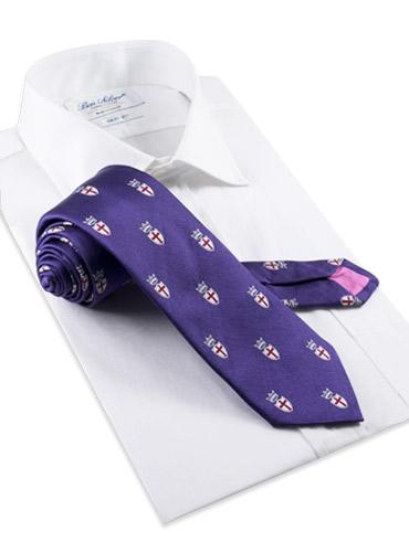Silk Woven Crest Tie in Violet