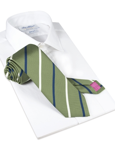 Mogador Double Striped Tie in Olive