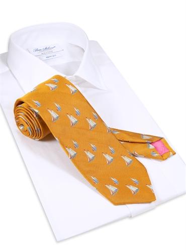 Jacquard Woven Sailboat Tie in Marigold