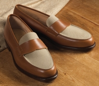 The Crewe Loafer in Tan Calfskin with Stone Canvas