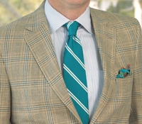 Cream and Sage Glen Plaid Sport Coat with Teal Overcheck