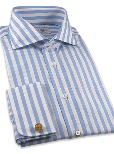 Light Blue and White Stripe French Cuff Shirt