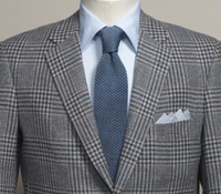 Cloud and Navy Plaid Wool Sport Coat with Oak Windowpane