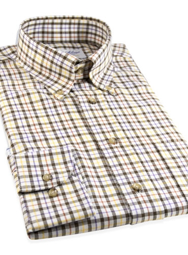 Brushed Cotton Plaid Button Down in Gold