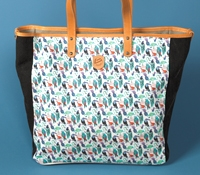 Canvas Tropical Birds Printed Tote in Black