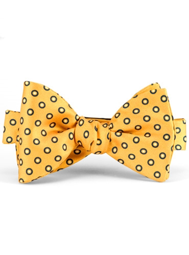 Silk Print Circle Motif Bow Tie in Marigold
