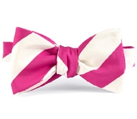 Mogador Silk Stripe Bow in Azalea