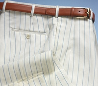Wool and Linen Trousers in Cream with Cobalt Pinstripe