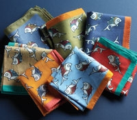 Cotton Pocket Square with Fish Motif