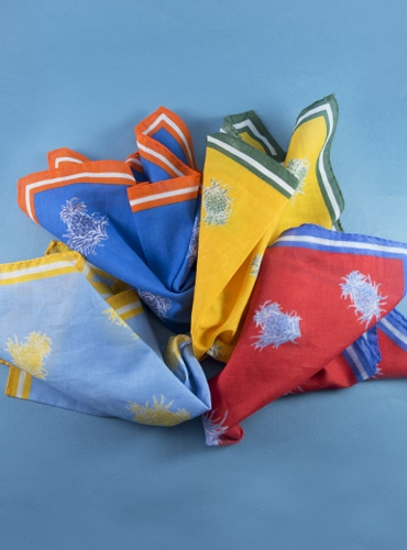 Pineapple Motif Cotton Pocket Squares