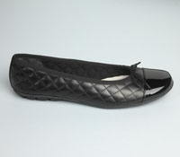Quilted Flats in Black with Black Patent Toe