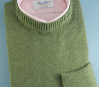 Cotton Cashmere and Silk Crew Neck Sweater in Fern