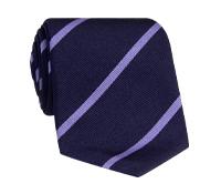 Silk Bar Striped Tie in Navy with Lavender