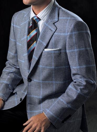 Navy Blue and Ivory Glen Plaid Cashmere Sport Coat