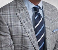 Navy and Cream Glen Plaid Sport Coat