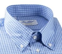 Blue and White Check Twill Button Down