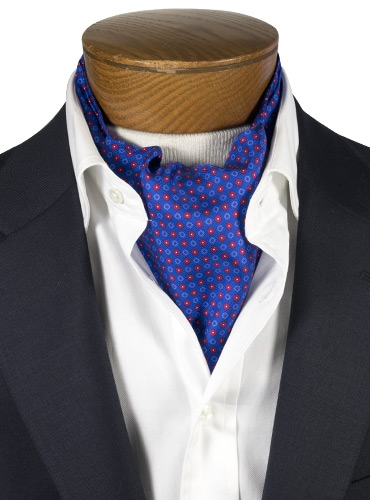 Silk Print Ascot with Small Flower Motif in Marine