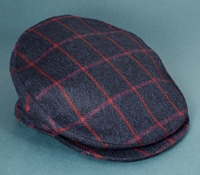 Wool Helmsley Cap in Navy and Red Windowpane