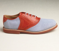 Ladies Saddle Shoe in Blue and Red