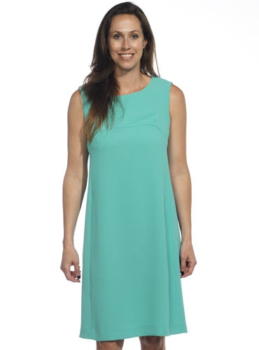 Ladies Sleeveless Crepe Dress in Turquoise