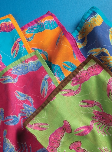 Silk and Cotton Pocket Square with Fanciful Lobsters