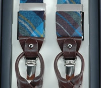 Sky & Brown Plaid Wool Braces
