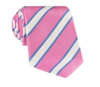Mogador Silk Stripe Tie in Pink