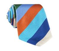 Silk Woven Multi-Stripe Tie in Marine