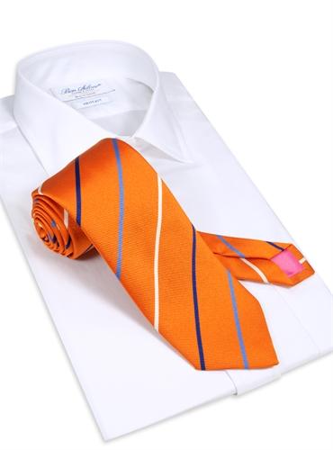 Silk Triple Stripe Tie in Tangerine