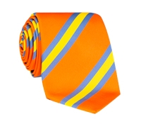 Silk Stripe Tie in Tangerine