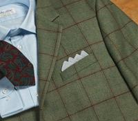 Jacket Green Wool Dark Windowpane