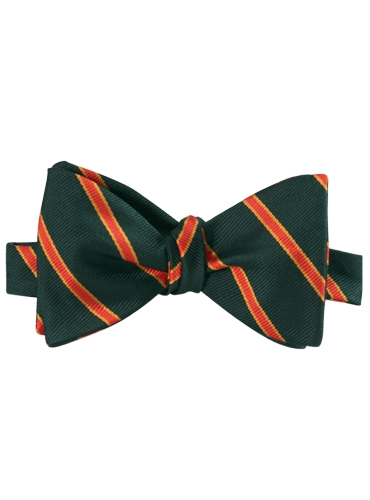 Silk Stripe Bow Tie in Bottle and Chilli