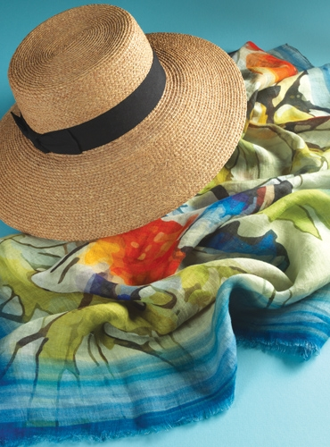 Linen Abstract Butterfly Printed Scarf